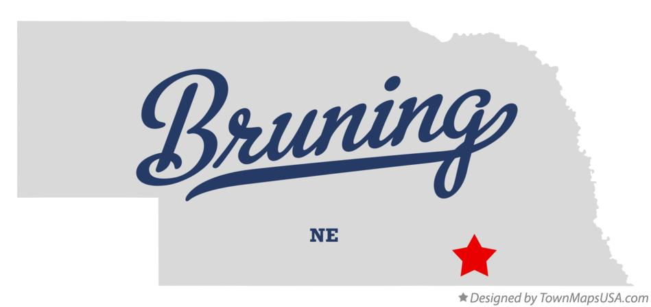 Map of Bruning Nebraska NE