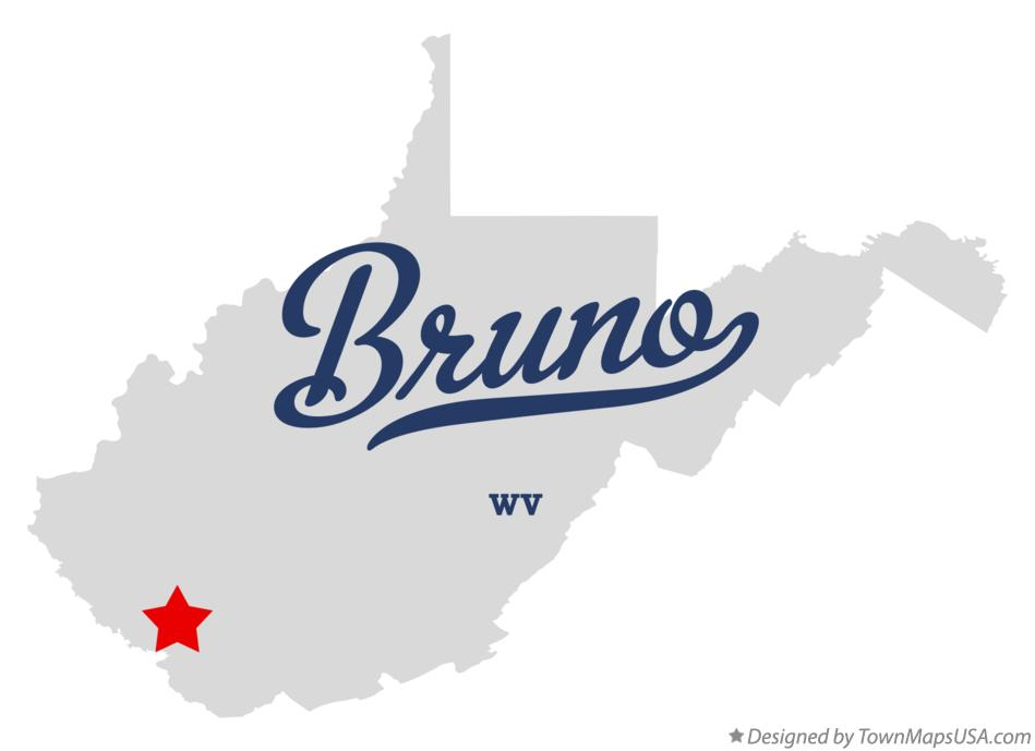 Map of Bruno West Virginia WV