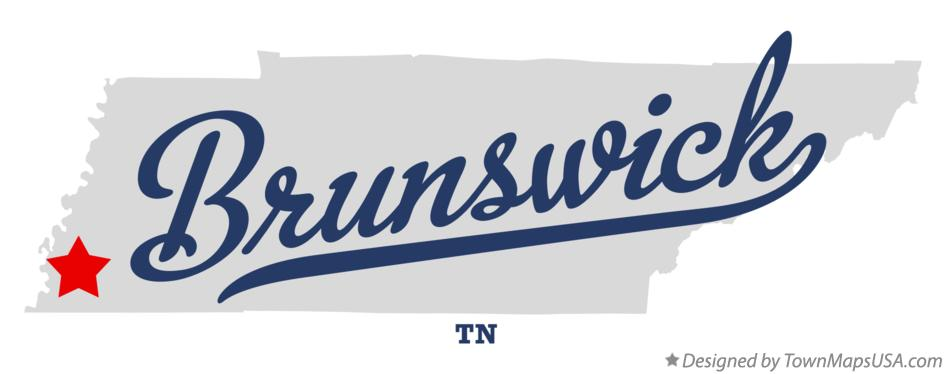Map of Brunswick Tennessee TN