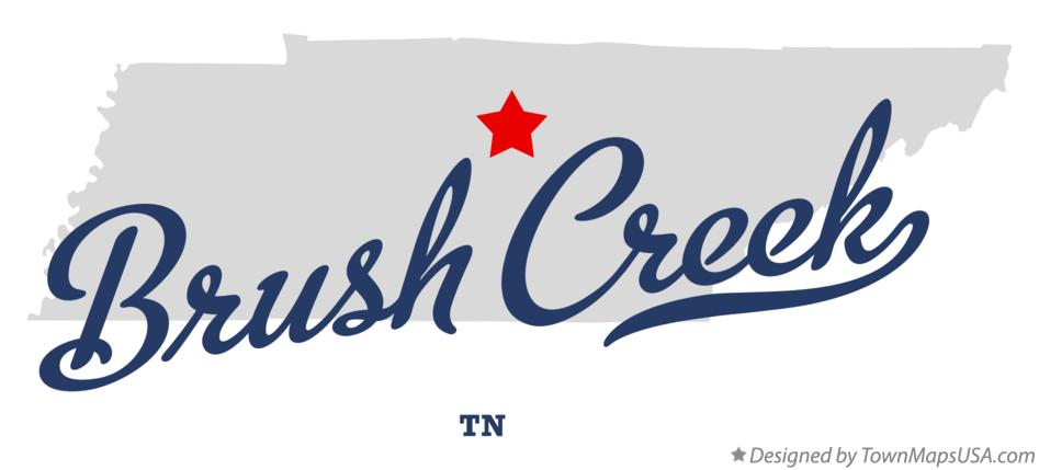 Map of Brush Creek Tennessee TN