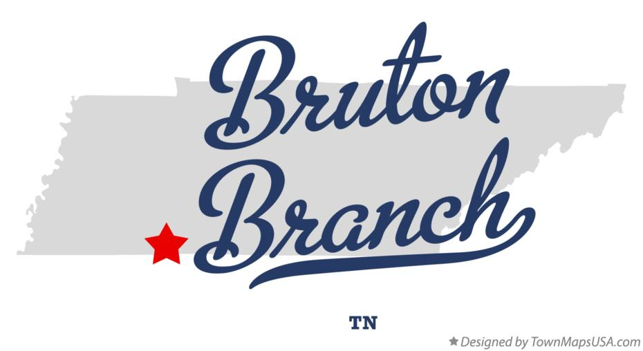 Map of Bruton Branch Tennessee TN