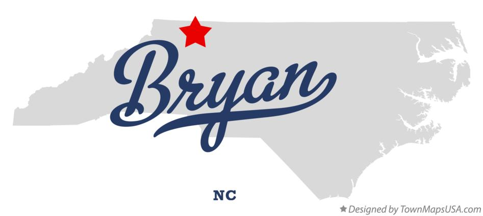 Map of Bryan North Carolina NC