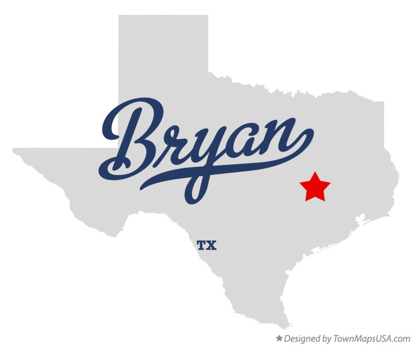 Map of Bryan Texas TX
