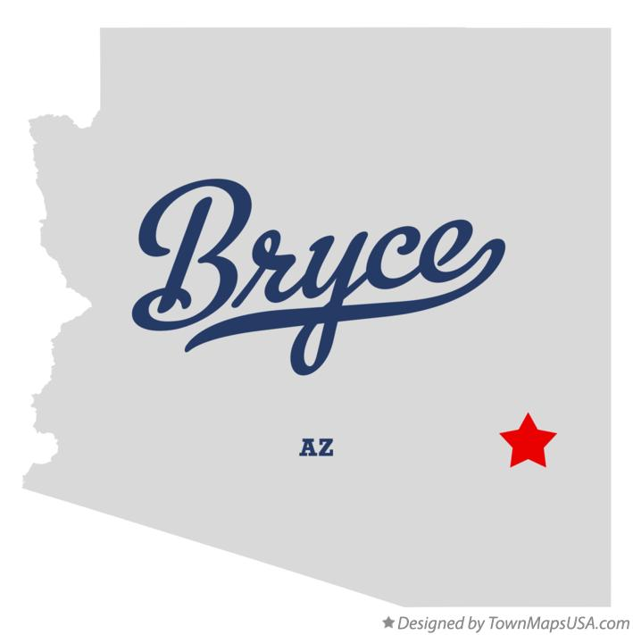 Map of Bryce Arizona AZ