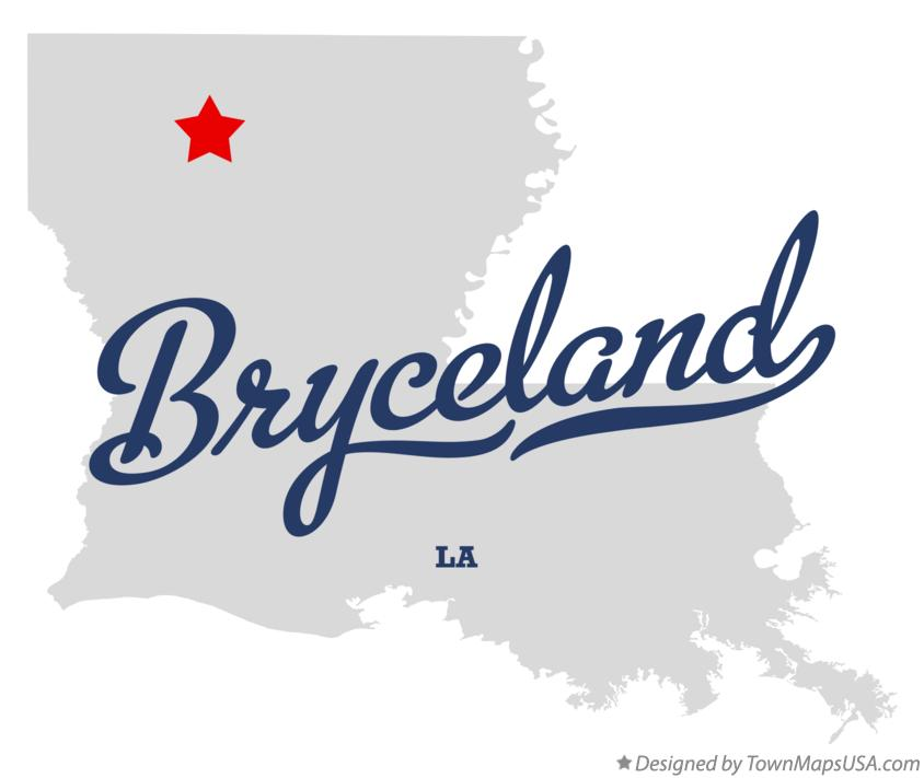 Map of Bryceland Louisiana LA