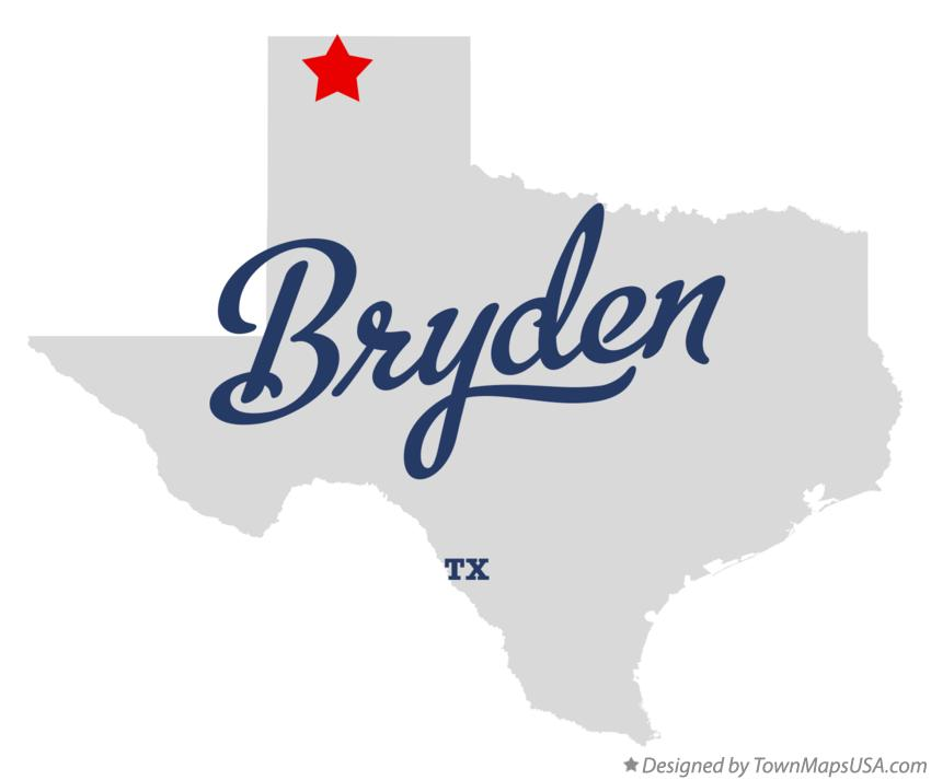 Map of Bryden Texas TX
