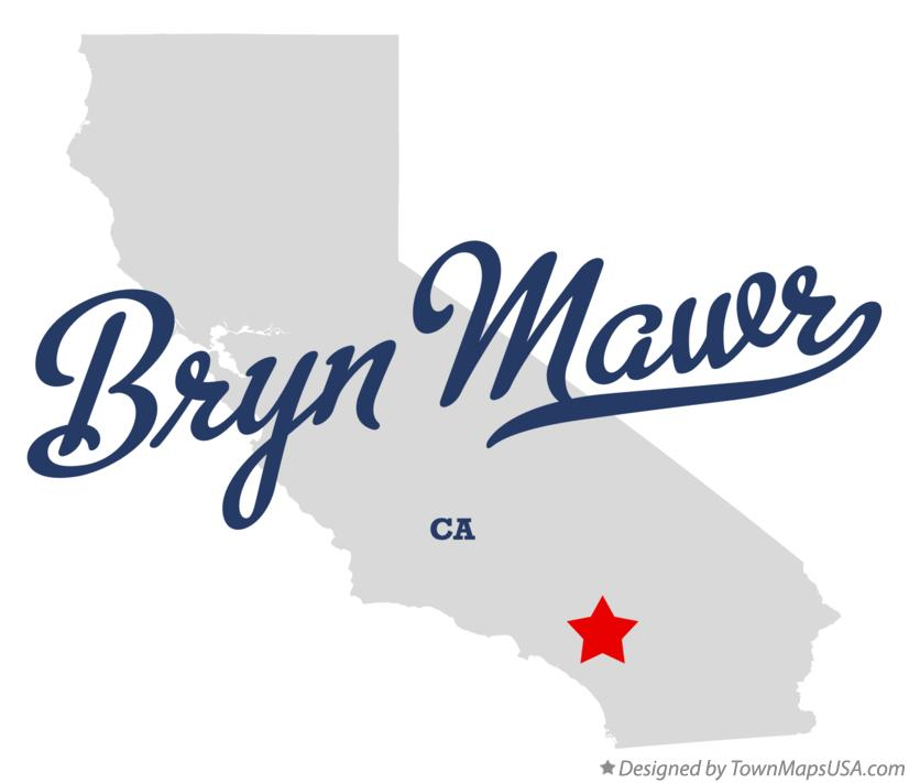 Map of Bryn Mawr California CA