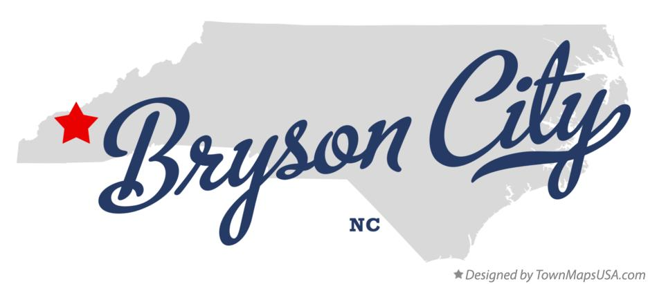 Map of Bryson City North Carolina NC