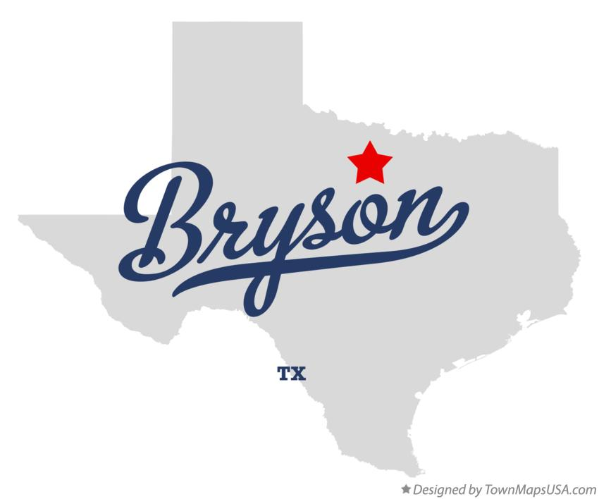 Map of Bryson Texas TX