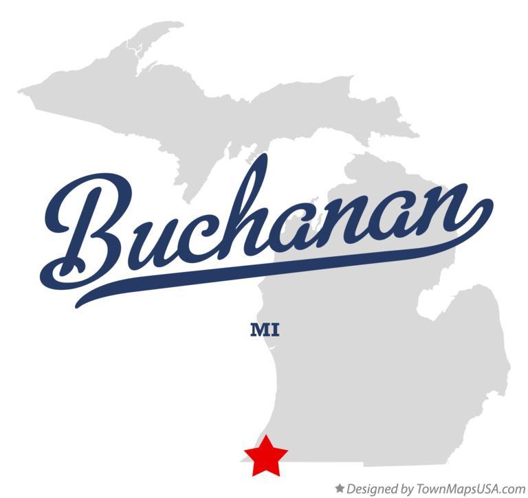 Buchanan Michigan Map.Map Of Buchanan Mi Michigan