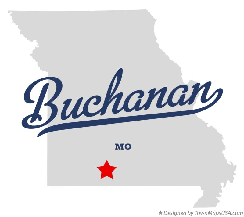 Map of Buchanan Missouri MO