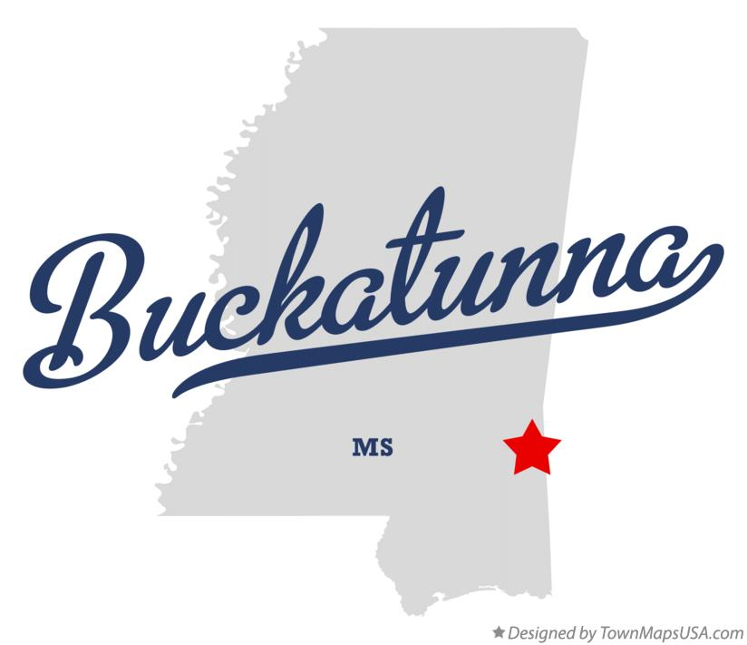 Map of Buckatunna Mississippi MS