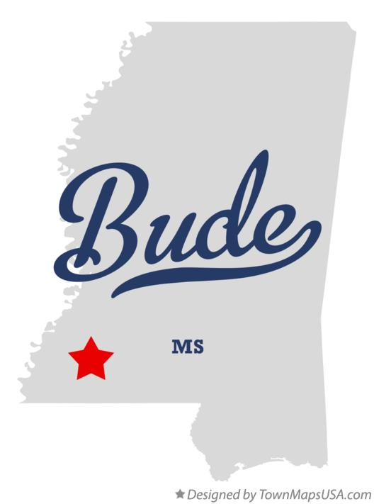 Map of Bude Mississippi MS