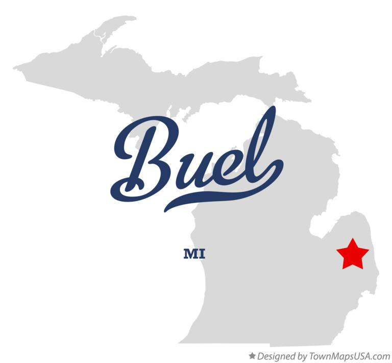 Map of Buel Michigan MI
