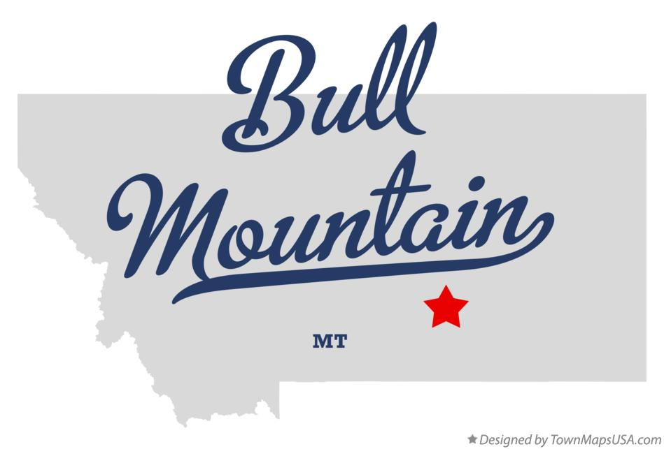 Map of Bull Mountain Montana MT