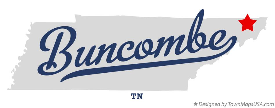 Map of Buncombe Tennessee TN