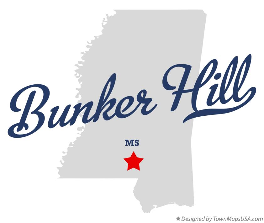 Map of Bunker Hill Mississippi MS