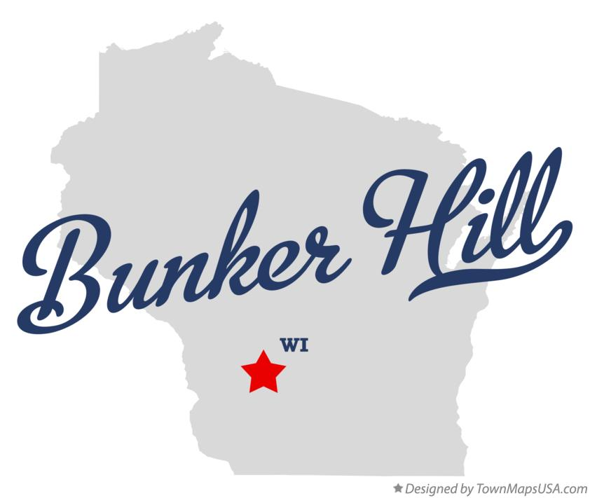 Map of Bunker Hill Wisconsin WI