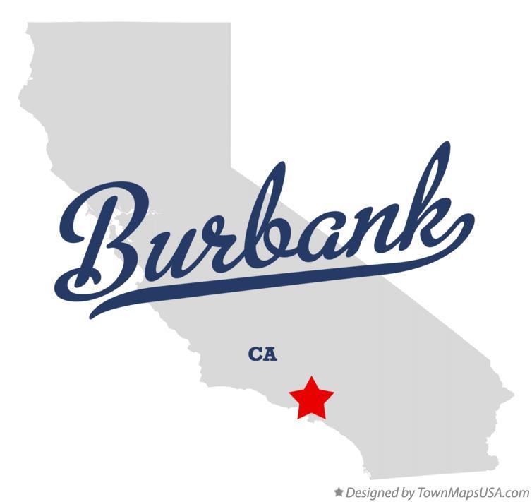 Map of Burbank, Los Angeles County, CA, California