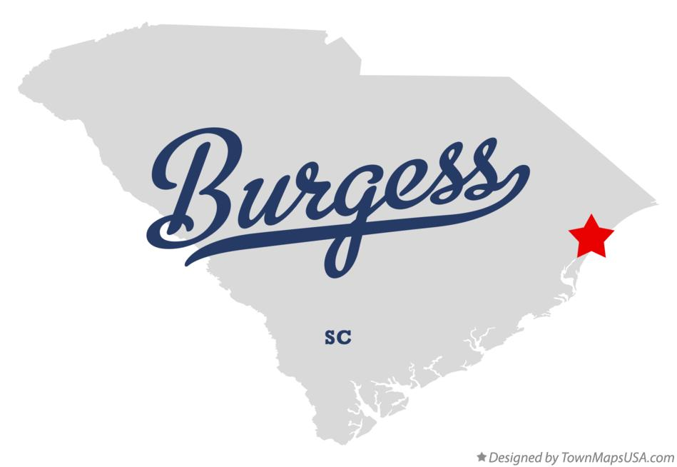 Map of Burgess South Carolina SC