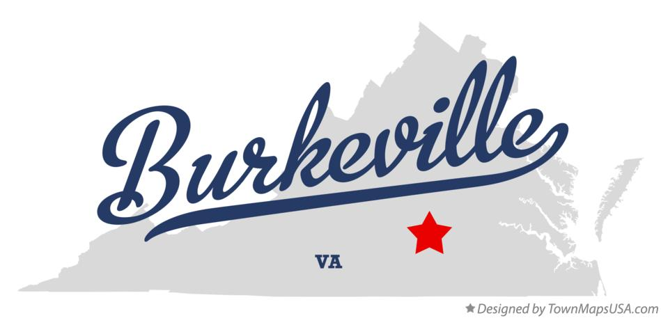 Map of Burkeville Virginia VA