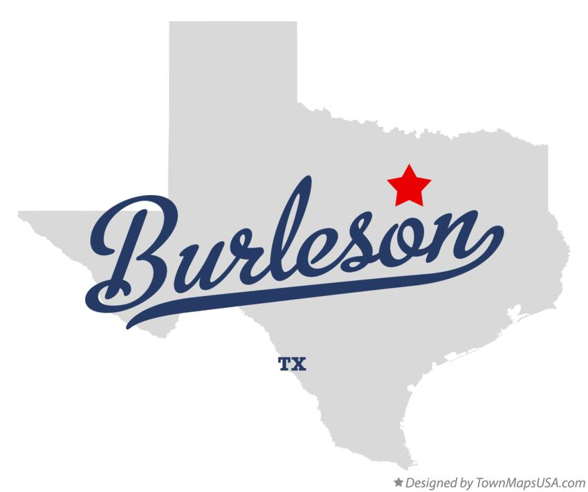 Map of Burleson Texas TX