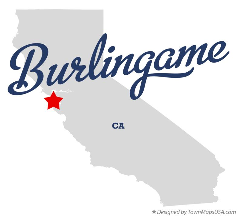 Map of Burlingame California CA
