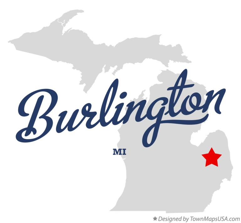 Map of Burlington Michigan MI