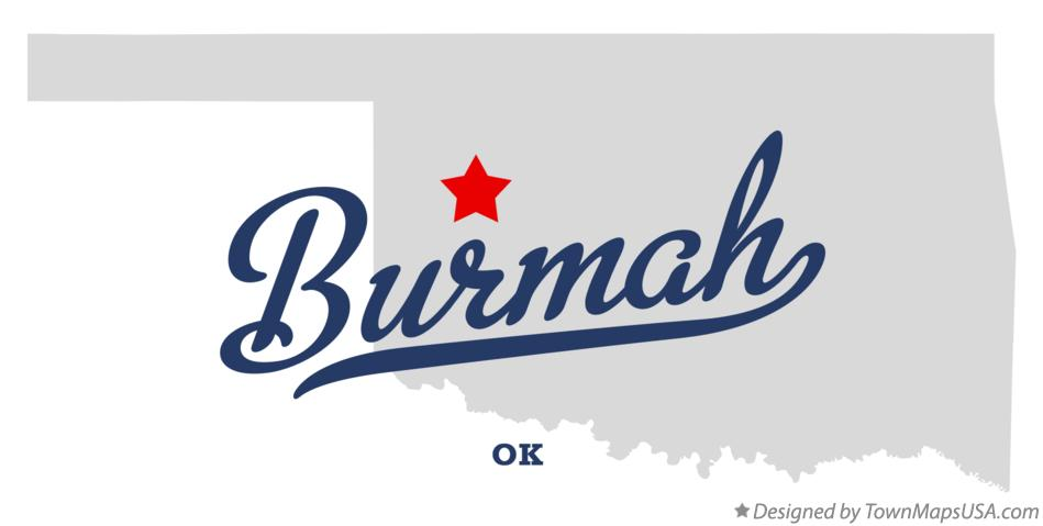 Map of Burmah Oklahoma OK