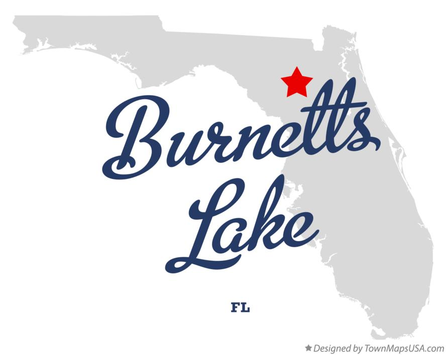 Map of Burnetts Lake Florida FL
