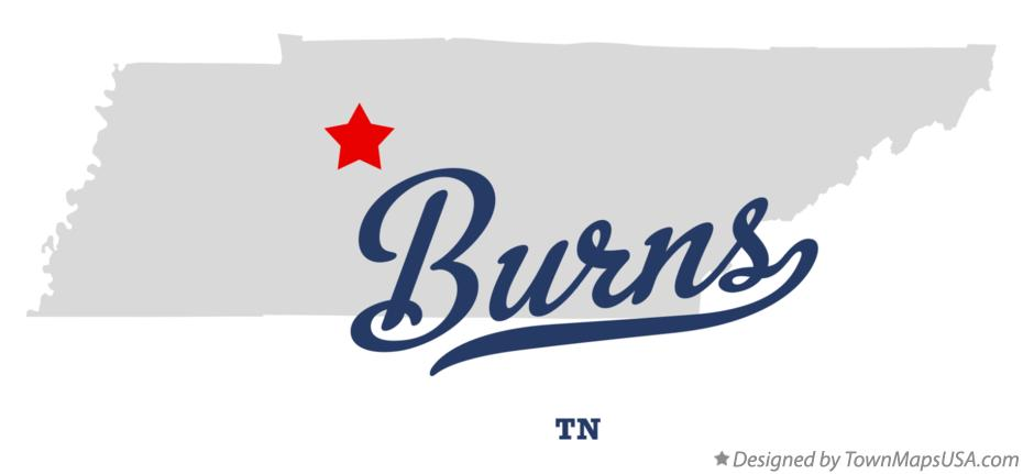 Map of Burns Tennessee TN