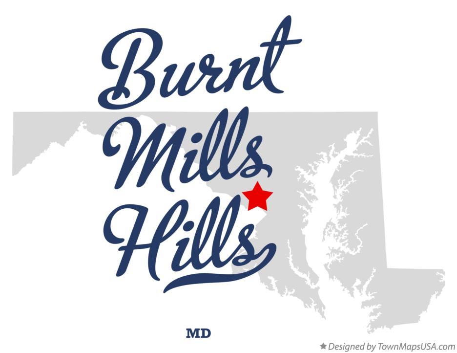 Map of Burnt Mills Hills Maryland MD