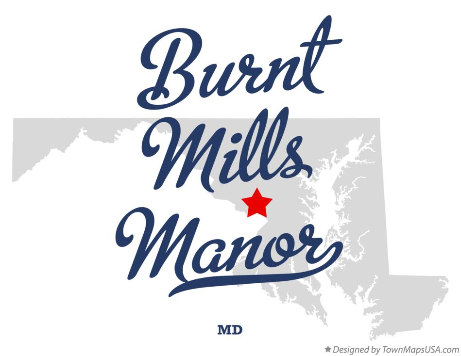 Map of Burnt Mills Manor Maryland MD