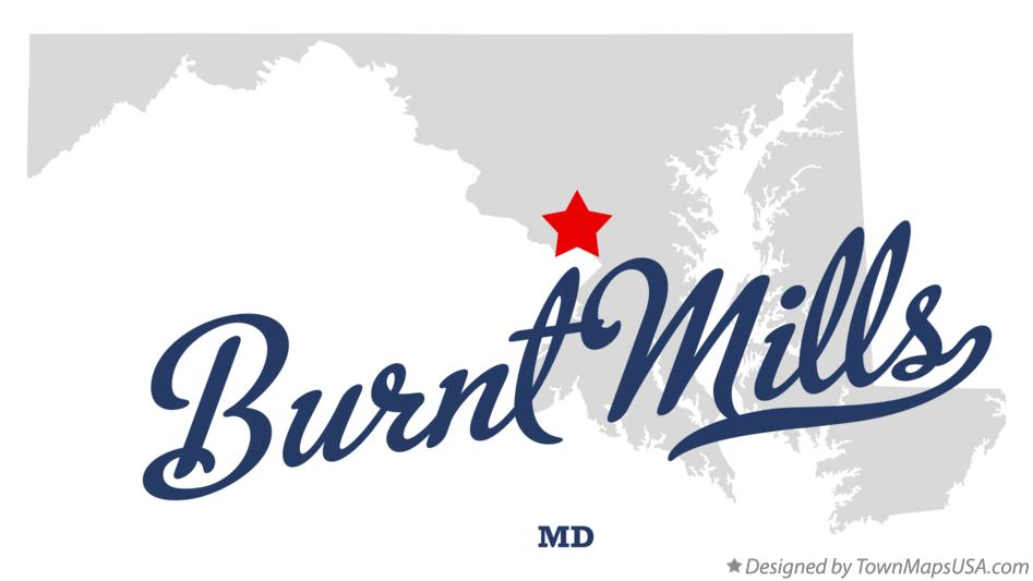 Map of Burnt Mills Maryland MD