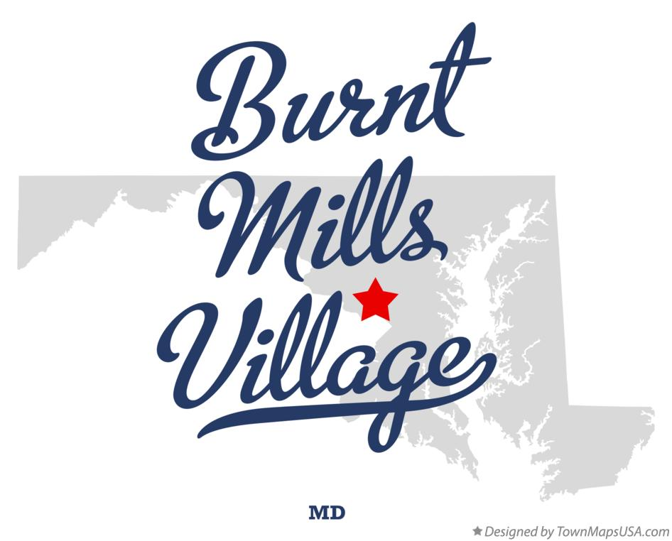 Map of Burnt Mills Village Maryland MD