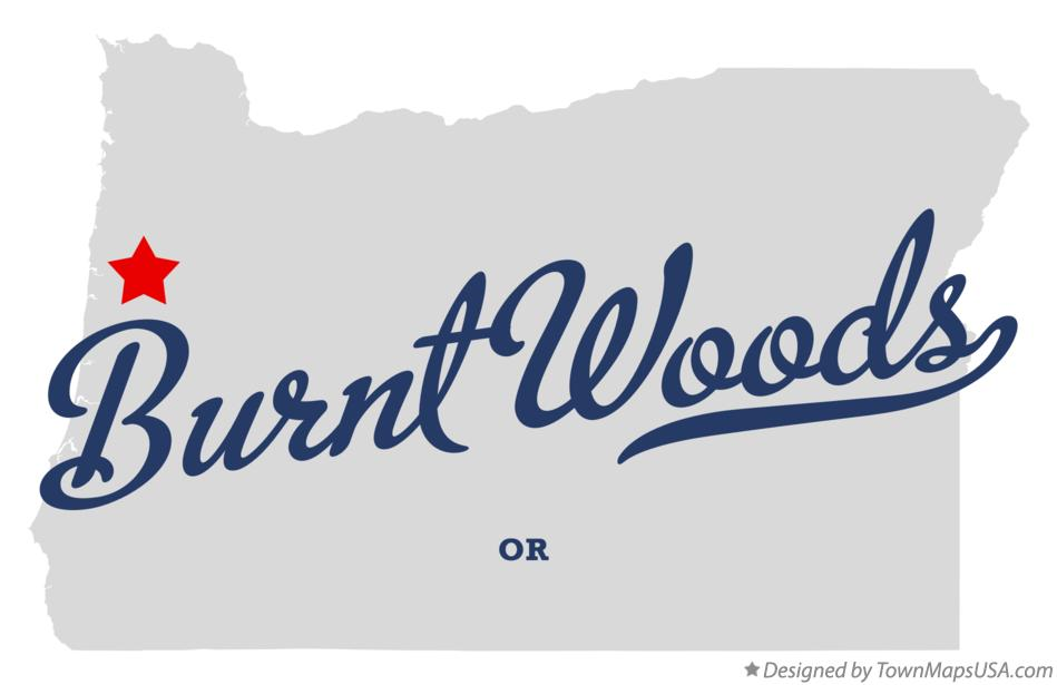 Map of Burnt Woods Oregon OR
