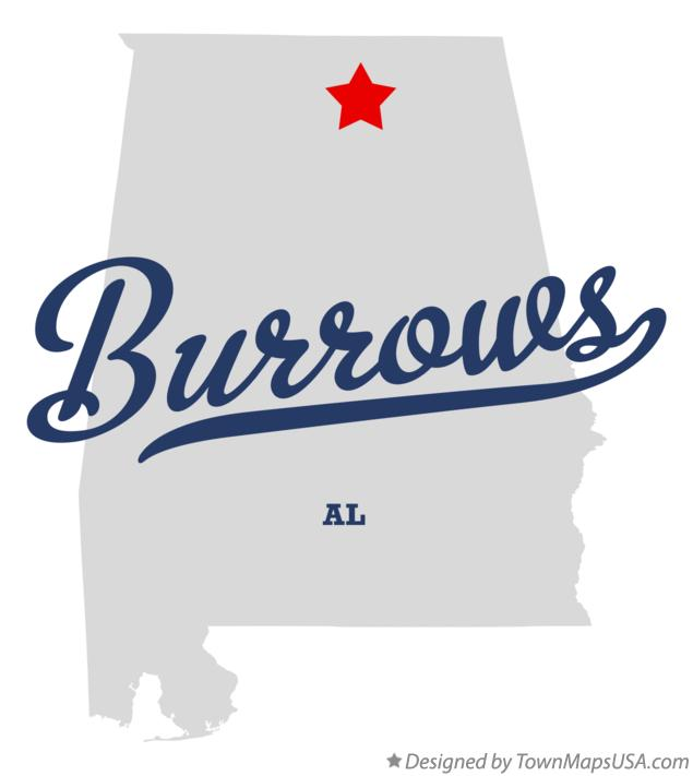Map of Burrows Alabama AL