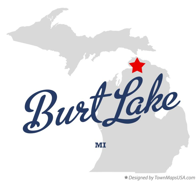 Map of Burt Lake Michigan MI