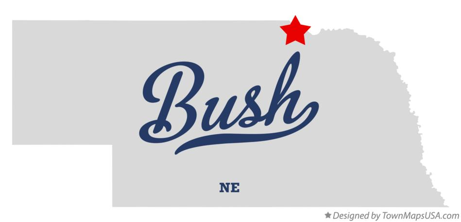 Map of Bush Nebraska NE