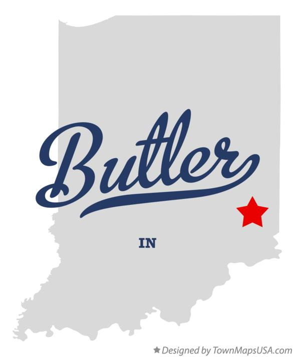 Map of Butler Indiana IN
