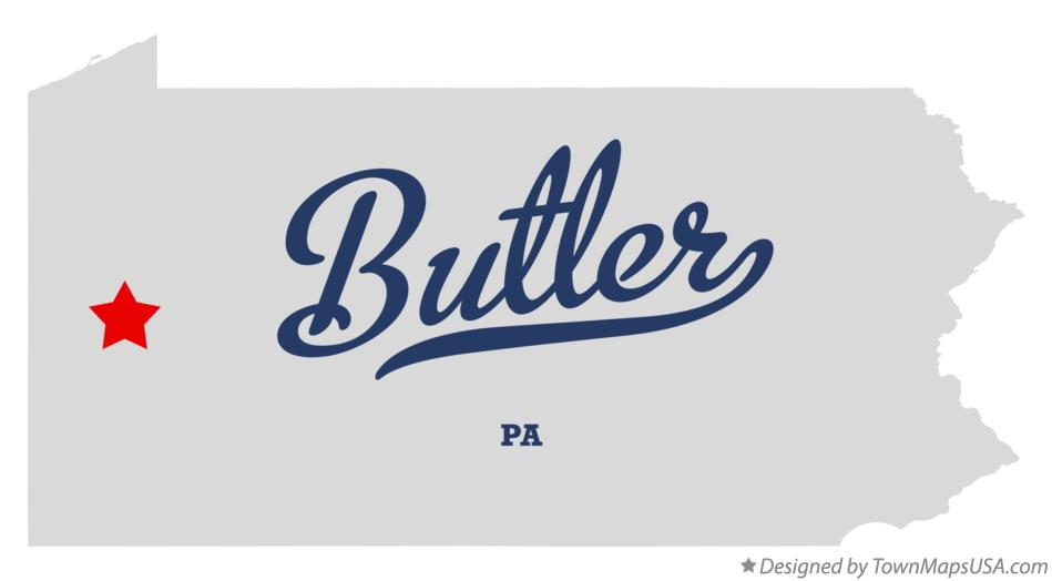 Map of Butler Pennsylvania PA