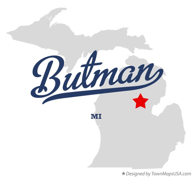 Map of Butman Michigan MI