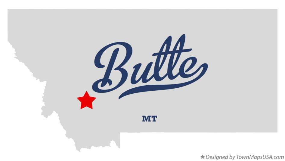 Map of Butte Montana MT