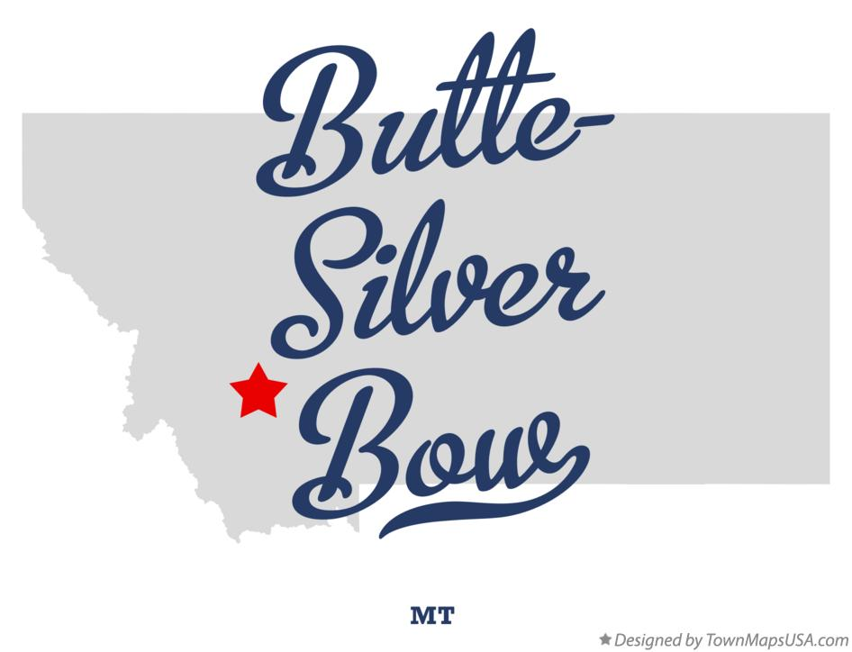 Map of ButteSilver Bow MT Montana