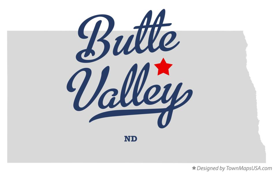 Map of Butte Valley North Dakota ND