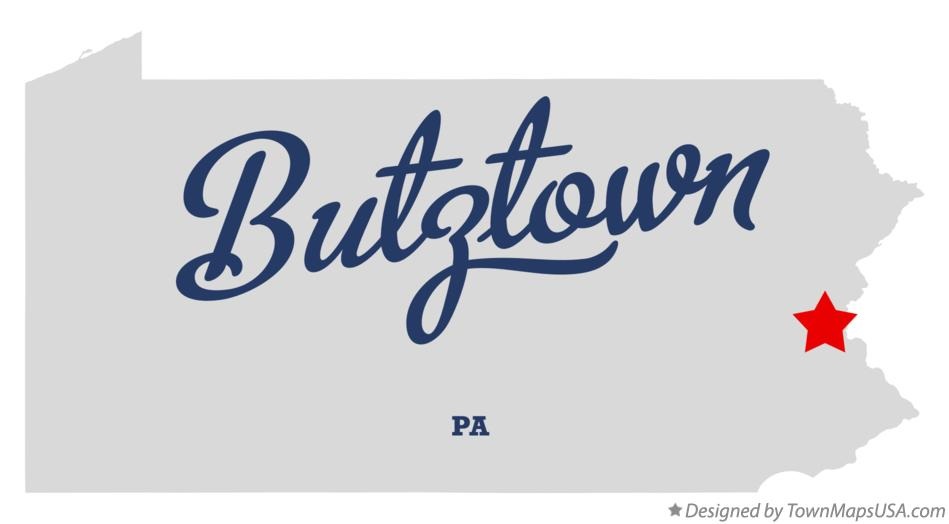 Map of Butztown Pennsylvania PA