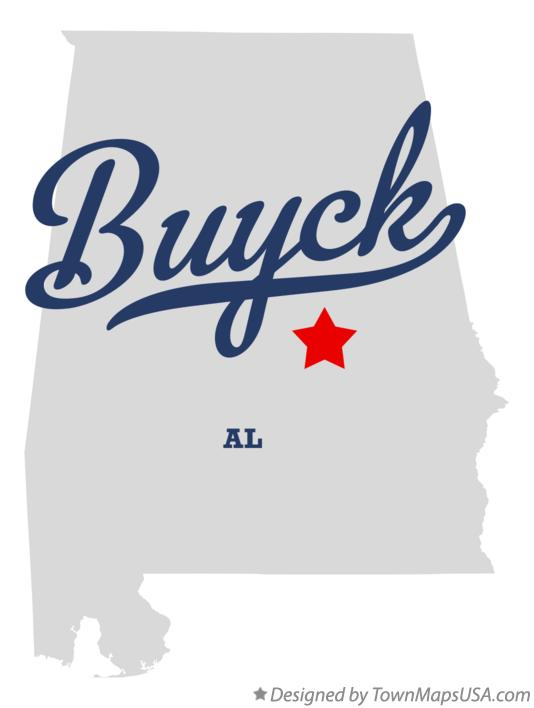 Map of Buyck Alabama AL