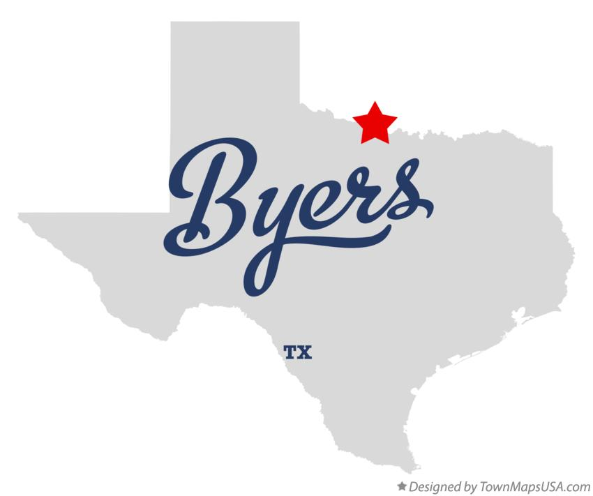 Map of Byers Texas TX