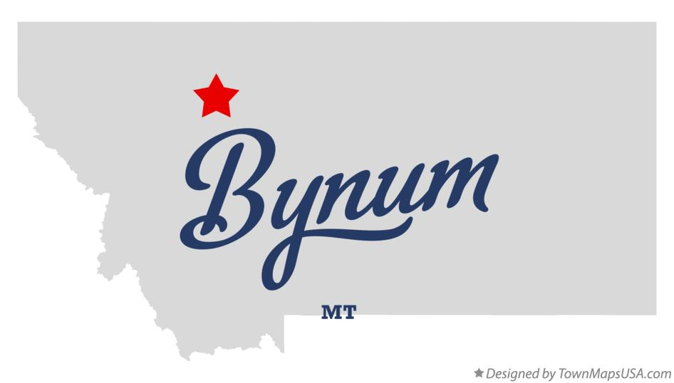 Map of Bynum Montana MT