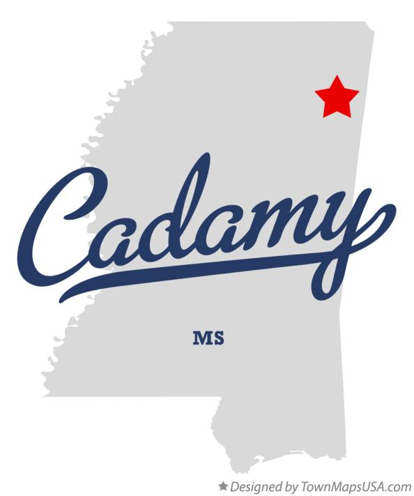 Map of Cadamy Mississippi MS